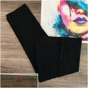 LUCIANO BARBERA Luxury Mens Pants Wool Flat Front